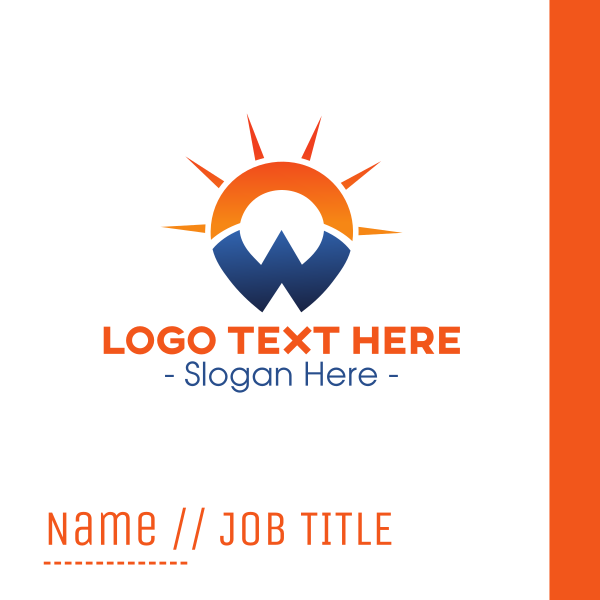 Sunset Letter W Business Card