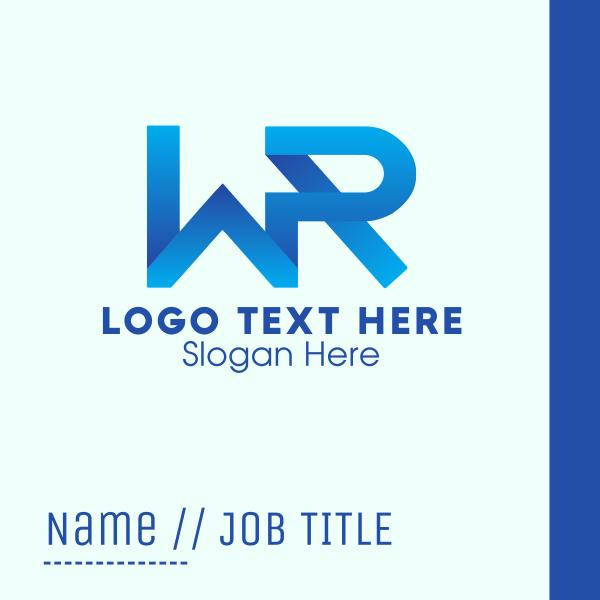 Blue W & R Monogram Business Card