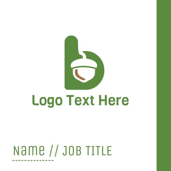 Acorn Green Letter B Business Card