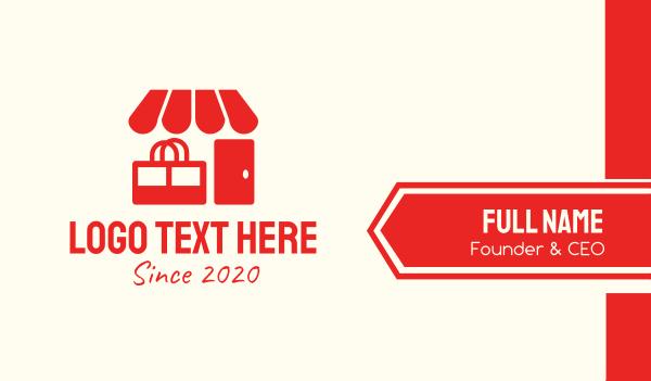 mart - Red Shop Store Mart Business card horizontal design