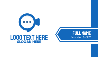 Blue Video Chat  Business Card