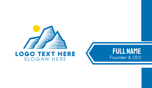 blue sun - Blue Mountain Outline Business card horizontal design