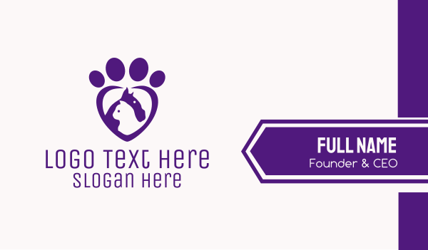 animal shelter - Purple Paw Veterinary  Business card horizontal design
