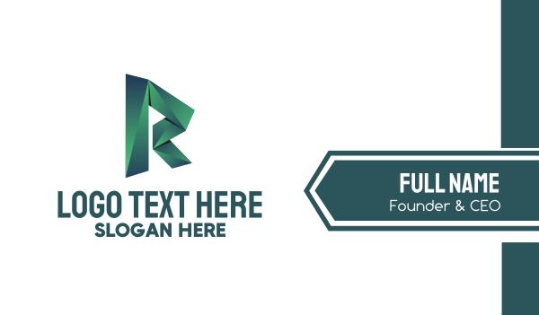 folded - Green Origami Letter R Business card horizontal design