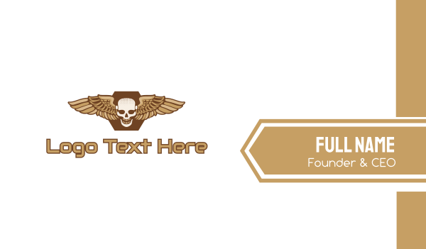 dogfight - Gold Wing Skull Business card horizontal design