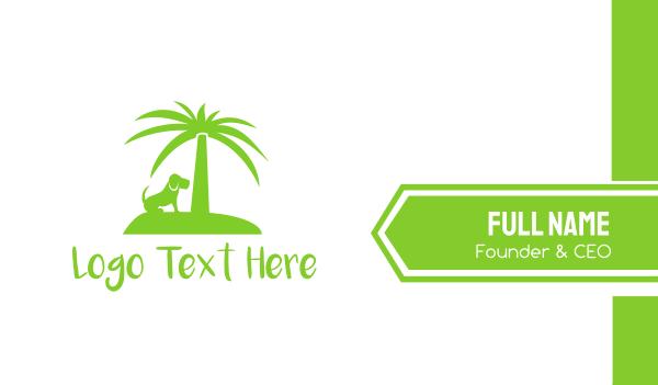 coconut tree - Green Dog Palm Tree Island Resort Business card horizontal design