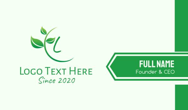nature conservation - Green Natural Vine Lettermark Business card horizontal design