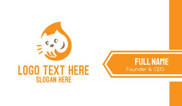 animal shelter - Yellow Cat Care Business card horizontal design