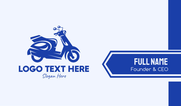 moped - Blue Delivery Scooter Business card horizontal design