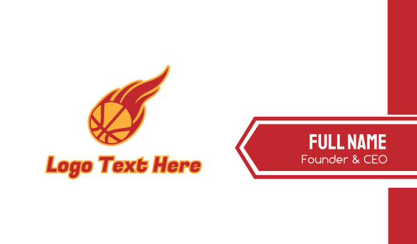 burning - Basketball Fire Business card horizontal design