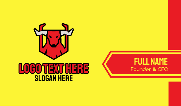 game - Red Angry Bull Business card horizontal design