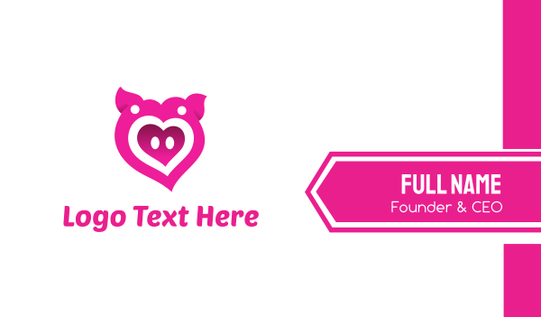 Pink Pig Love Heart Business Card