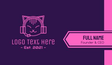 Pink Cat DJ Business Card