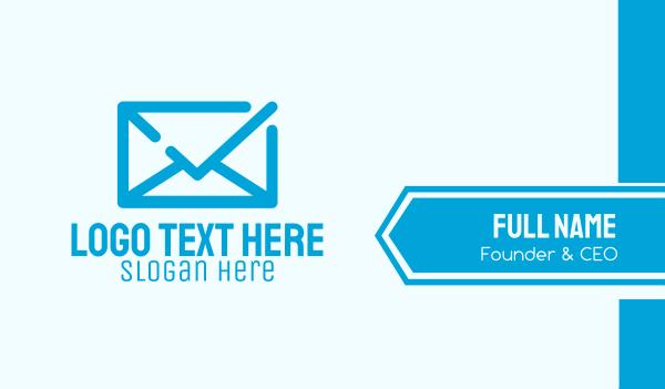 verify - Blue Mail Check Business card horizontal design