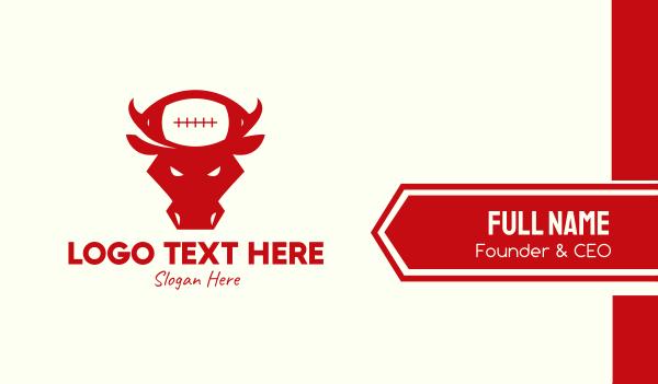 team mascot - Red Bull Football Team Business card horizontal design