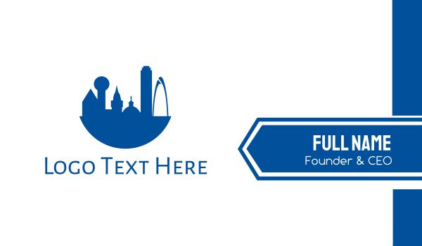 metropolis - Blue Dallas City Business card horizontal design