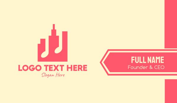 tone - Pink Urban City Music Business card horizontal design