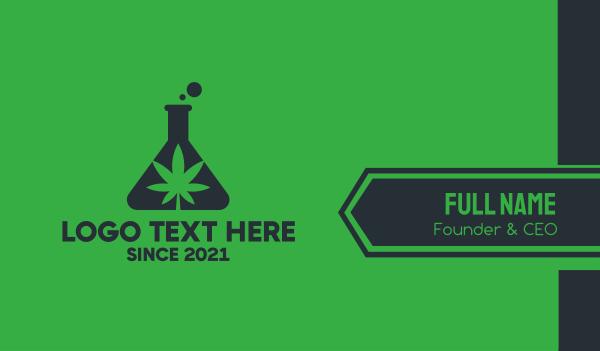 eliquid - Green Flask Cannabis Business card horizontal design