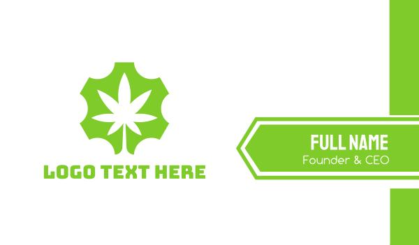 green cog - Gear Marijuana Business card horizontal design