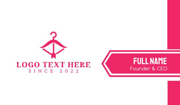 pink arrow - Pink Fashion Hanger Business card horizontal design