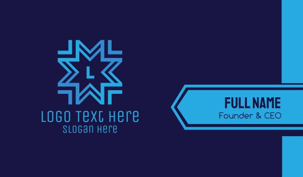 snowflake - Blue Snowflake Lettermark Business card horizontal design
