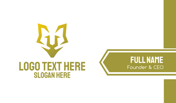 hound - Minimalist Golden Feline Business card horizontal design