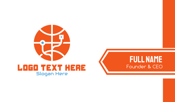 tech - Electronic Basketball Technology Business card horizontal design