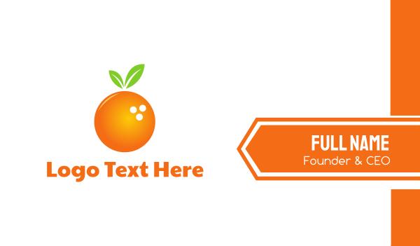 tangerine - Bowling Orange Business card horizontal design
