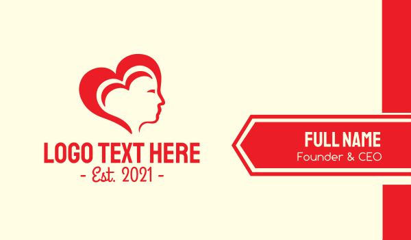 mom - Red Heart Head Business card horizontal design