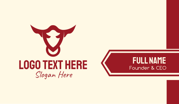 longhorn - Bull Animal Business card horizontal design