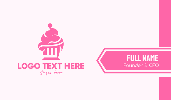 bakehouse - Pink Cupcake Business card horizontal design