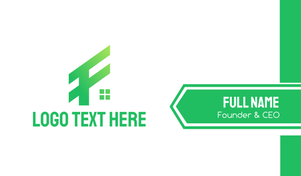 letter f - Green F House Business card horizontal design