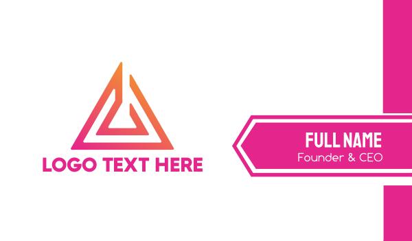 saas - Abstract Pink Arrow Business card horizontal design