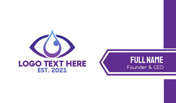 fluid - Blue Tear Drop Business card horizontal design