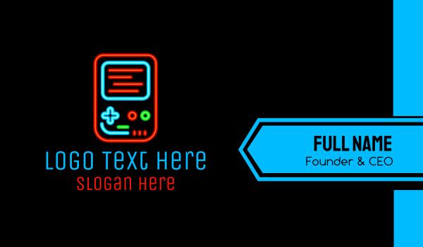 mobile gaming - Neon Handheld Gaming Business card horizontal design