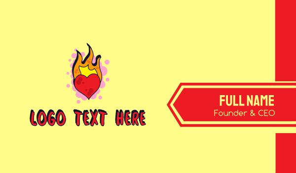 passion - Graffiti Art Burning Heart Business card horizontal design