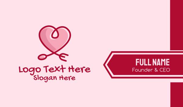 spoon - Romantic Heart Restaurant  Business card horizontal design