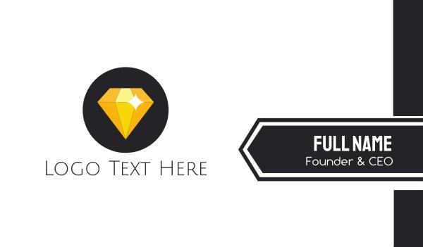 gold diamond - Shiny Yellow Diamond Business card horizontal design