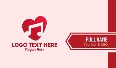 Romantic Music Love Heart Business Card