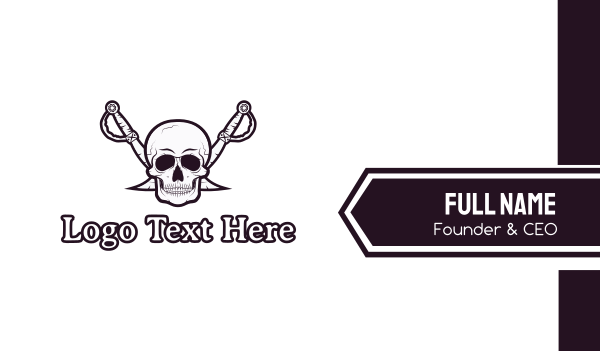 skull and crossbones - Pirate Skull & Swords Business card horizontal design
