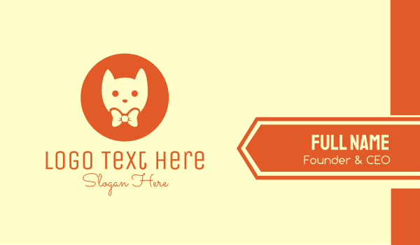 kawaii - Orange Kitty Cat Business card horizontal design