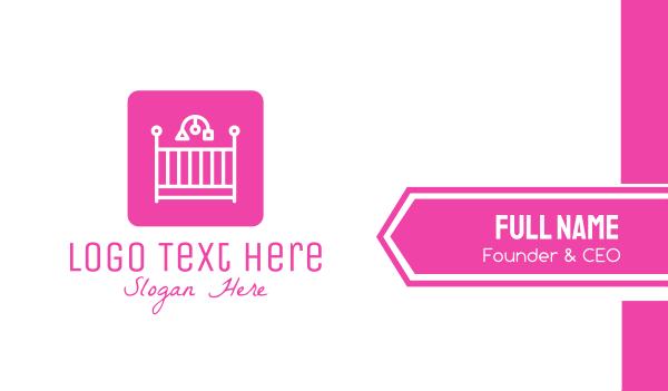 mom - Pink Baby Crib Business card horizontal design