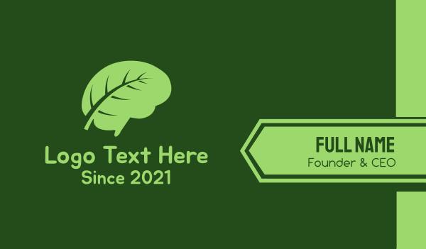 mind - Green Brain Leaf Business card horizontal design