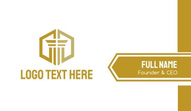 Gold Hexagon Pillar Business Card