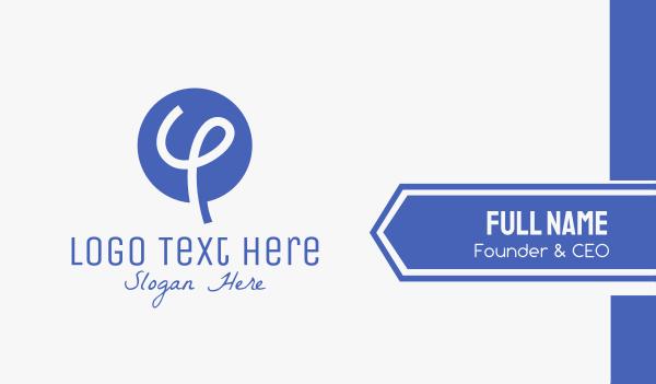 merchandise - Blue Handwritten Letter Y Business card horizontal design