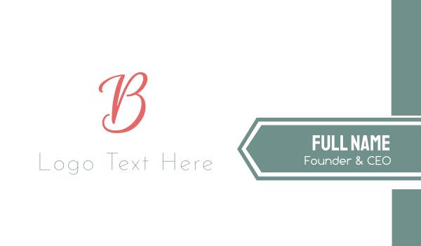 couture - Elegant Coral Letter B Business card horizontal design
