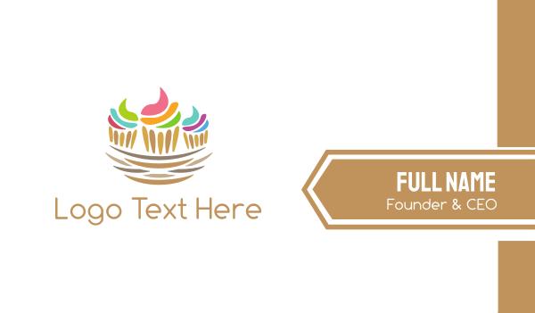 birthday cake - Cupcake Nest Business card horizontal design