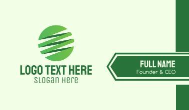 Green Zigzag Globe Business Card