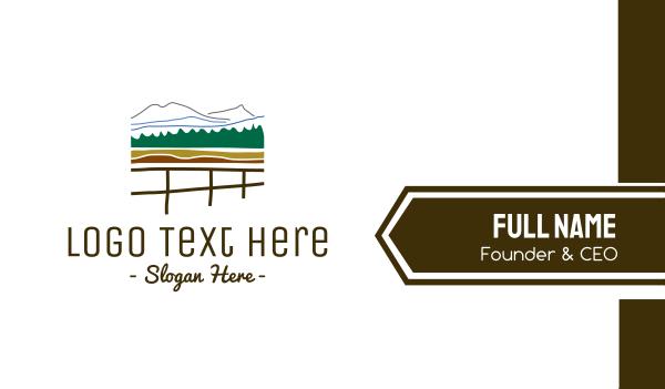 lodge - Fence & Mountains Business card horizontal design