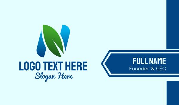 ecosystem - Eco Friendly Letter N Leaf Business card horizontal design